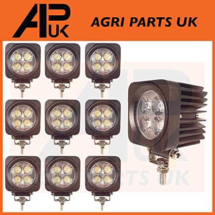 APUK PAIR 12W LED Work Light Lamp Flood Beam 12-24V Compatible with Jeep Boat Digger Tractor SUV 4X4
