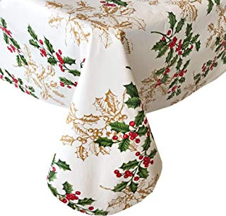 "Newbridge Golden Holly and Berry Christmas Vinyl Flannel Backed Tablecloth - Metallic Gold Holly Holiday Print Wipe Clean Easy Care Kitchen, Dining Room Tablecloth, 60"" x 84"" Oval"