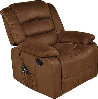 Relaxzen Massage Rocker Recliner with Heat and USB, Brown Microfiber
