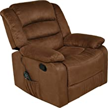 Relaxzen Massage Rocker Recliner with Heat and USB, Brown Microfiber