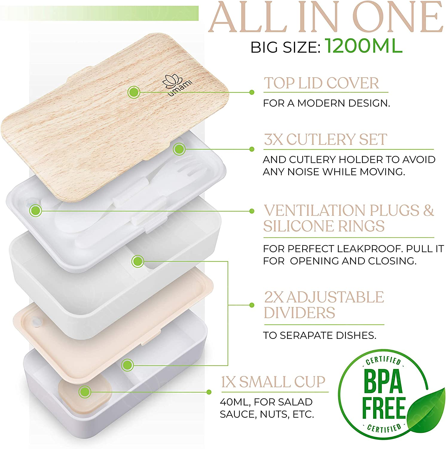 Micro-Waves /& Dishwasher /& Freezer Zero Waste Japanese Hermetic Box Includes 1 Sauce Pot /& Cutlery 3 Pieces UMAMI Premium Bento Lunch Box for Adults//Children 2 Compartments BPA Free