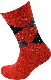 Viyella Made in England Mens Poppy Red Argyle Wool Socks