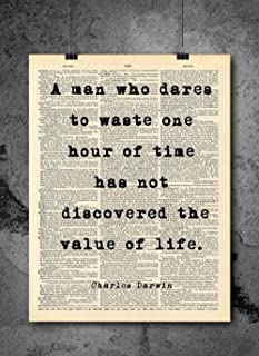 Charles Darwin - Value Of Life Quote - Dictionary Art Print - Vintage Dictionary Print 8x10 inch Home Vintage Art Wall Art for Home Wall For Living Room Bedroom Office Ready-to-Frame