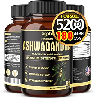 Agobi Premium Organic Ashwagandha Capsules 5200mg* | 5 Essential Herbal Ingredients Complex- 1 Daily Supplement Supports E...