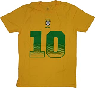 Outerstuff Brazil Soccer Youth Gold Neymar Jr. Name and Number Jersey T-Shirt