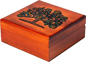 """Artisan Owl Polish Handmade Jewish Tree of Life 6"""" Wooden Box with Red Interior, Perfect for Keepsakes and Special Items"""