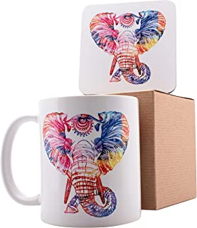Personalized Coffee Mug Gifts Colorful Elephant - 11oz Ceramic Mug with Matching Coaster & Gift Box - Birthday Gifts, Mother's Day Gifts, Father's Day Gifts, Christmas Gifts
