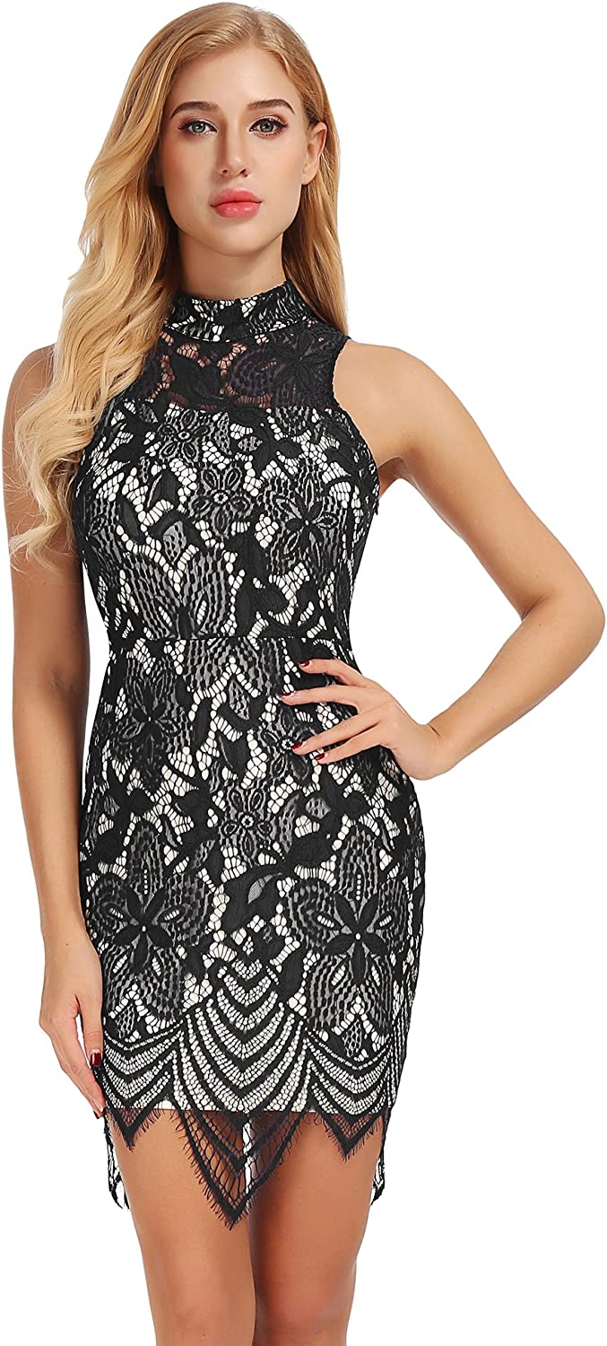 FISOUL Women's Sexy Backless Halter Bodycon Dress Cocktail Lace Party Midi Dress