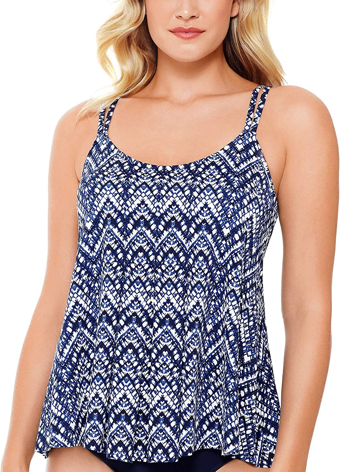 Swim Solutions Women's Printed Pleated-Front Swimsuit Tankini Top