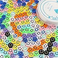 SAVITA 200 Stuks Smiley Kralen Kleurrijke Schattig Blij Gezicht Kralen met een Doorzichtige Elastische Draad voor...