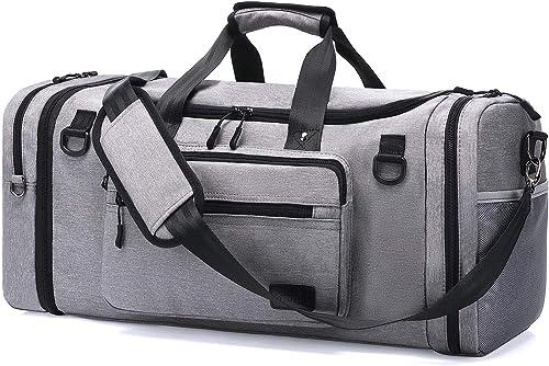 Sac de Sport Grande Capacité Hommes - 46L Sac de Sport avec Compartiment Chaussures, Sac de Voyage Imperméable et Sac...