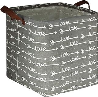 HIYAGON Square Storage Bins,Storage Baskets,Canvas Fabric Storage Boxes,Foldable Nursery Basket for Clothes,Books,Shelves ...
