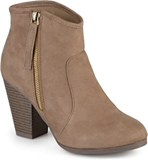 Journee Collection Women's High Heel Faux Suede Ankle Boots Taupe, 6.5 Wide Width US