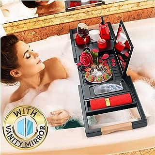 Your Majesty プレミアムブラック浴槽トレイ [ミラー付き] 1-2人分 拡張可能な竹製バスタオル 美しいギフトボックス あらゆる浴槽にフィット - 本、ワイン、携帯電話、iPad、ノートパソコンを収納