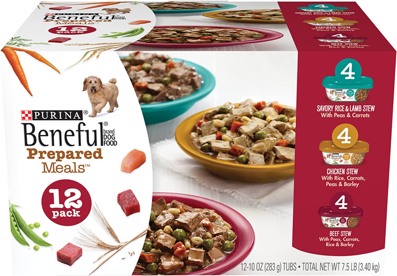 Purina Beneful Prepared Meals Stew Variety Pack Wet Dog Food, (12) 10 oz. Tubs