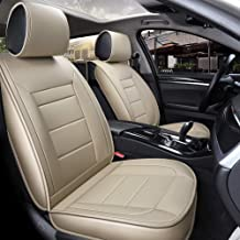 INCH EMPIRE Car Seat Cover Easy to Clean Artificial Leather Car Seat Cushion Adjustable Fit for Lexus GX 460 Sorento Optima Murano Sentra Xterra Versa Legacy (Pure Beige Full Set)