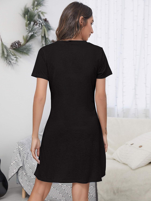 Meegsking Women/'s Long Sleeve Nightgown Cute Print Soft Nightshirts Sleepwear Casual Sleep Shirts Dress