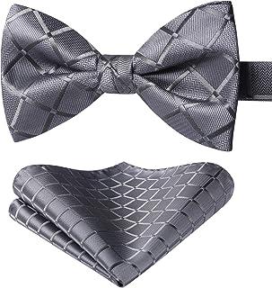 HISDERN Men's Solid Bow Tie Pre-Tied Bowtie Wedding Plaid Bowties Handkerchief Set Pocket Square For Mens