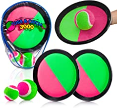 YoYa Toys Toss & Catch 3000 Ball Game with Disc Paddles, 2 Balls (Big and Small) and PVC Carry Bag, Pink and Green