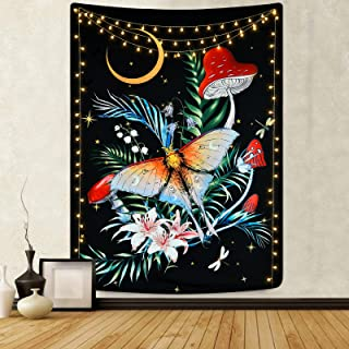 Flower and Butterfly Tapestry Floral Vertical Tapestry Moth Tapestry Moon and Stars Tapestries Black Aesthetic Tapestry Wa...