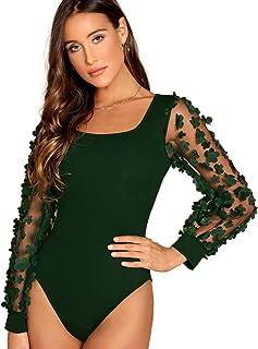 59cea2119002 Romwe Women's Elegant Square Neck Floral Applique Mesh Sleeve Bodysuit  Jumpsuit