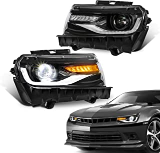 MOSTPLUS Headlight LED Projector Lamp Compatible for 2014 2015 Chevy Chevrolet Camaro 5th Generation w/sequential Indicator,Dual Beam Lens, Full LED & DRL Bars