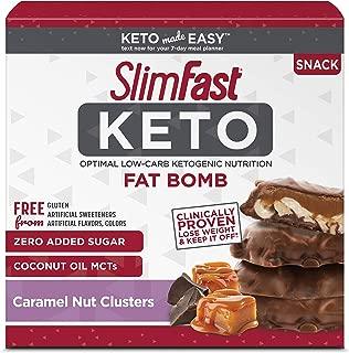 SlimFast Keto Fat Bomb Snacks, Chocolate Caramel Nut Clusters, 20 Grams, 14 Pack Box