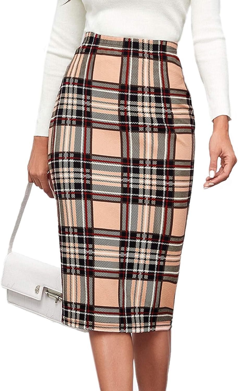 SOLY HUX Women's Plaid Elastic High Waist Pencil Midi Skirt