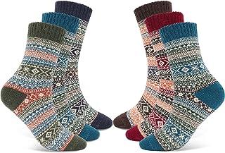 calcetines cálidos, Calcetines acogedores de invierno vintage, Forma antibacteriana cálida colorida transpirable gruesa - 6 pares