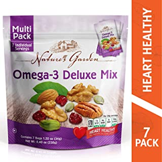 Nature's Garden Omega-3 Deluxe Mix, trail Mix, Heart Healthy snack, Vegan, Kosher, Gluten Free, Sodium Free, Cholestrol Free, No Artificial Ingredients, 8.4 oz - 7 Individual Servings of 1.2 oz.