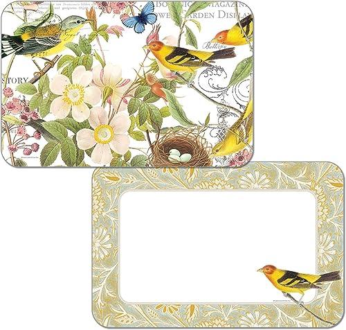 Botanical Birds Wende Vinyl Platzdeckchen Set von vier