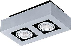 Eglo LOKE 1 Interior GU10 5W Metálico iluminación de techo - Lámpara (Dormitorio, Cocina, Salón, Metálico, IP20, Plaza, I, 2 bombilla(s))
