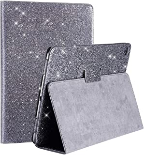 2018 New iPad/iPad Air/Air2/Pro 9.7 Glitter Case,FANSONG Bling Sparkle PU Leather Smart Cover [Flip Stand Function] [Auto Sleep/Wake] Universal Case for Apple iPad Air/Air2/Pro 9.7 (Bling Grey)