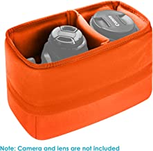 Neewer Shock-Mount Camera Bag, Foldable, Padded, Divider, Inserts, Protective case for Sony, Canon, Nikon DSLR Camera or Flashlight (Orange).