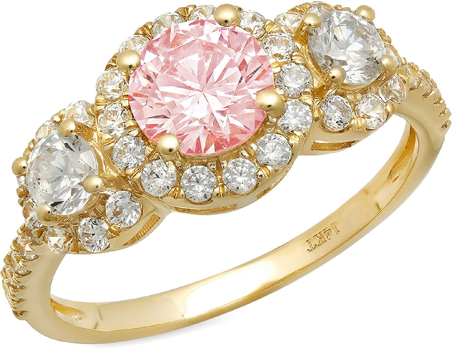 1.72ct Round Cut Halo Solitaire three stone With Accent Pink Simulated Diamond CZ VVS1 Designer Modern Statement Ring Solid 14k Yellow Gold Clara Pucci