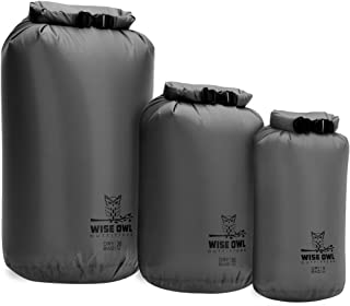 Wise Owl Outfitters Dry Bag 3-Pack - Fully Submersible Ultra Lightweight Airtight Waterproof Bags - Diamond Ripstop Roll-Top Drybag Sacks - 20L 10L and 5L