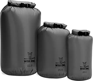Wise Owl Outfitters Dry Bag 3-Pack - Fully Submersible Ultra-Lightweight Airtight Waterproof Bags - Diamond Ripstop Polyester Roll-Top Sacks - 20L, 10L,  and 5L