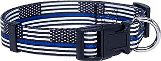 Native Pup Thin Blue Line Flag Dog Collar