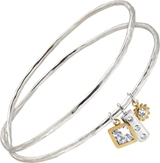 in the Mix' Sterling Silver, Brass, Cubic Zirconia Bangle Bracelet, 7.5