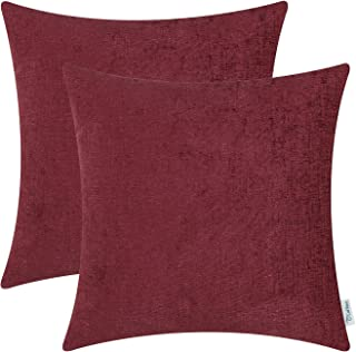 Best CaliTime Pack of 2 Cozy Throw Pillow Covers Cases for Couch Sofa Home Decoration Solid Dyed Soft Chenille 18 X 18 Inches Burgundy Review