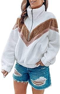 Women's Zipper Sherpa Pullover Soft Fuzzy Fleece Sweatshirt Jacket Sweater Winter Coat