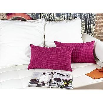 Dos Fundas Cojines Tela Decorativa Pana Cuadrados. 2 Funda Cojín 30 x 50 cm, Color Rojo. Hecho en España. Modelo: panacu_Roj_30x50: Amazon.es: Hogar