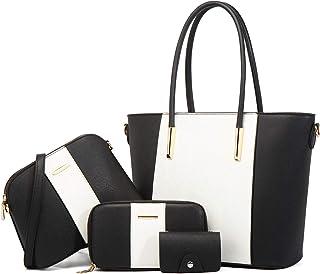 LUOWAN Bolsos Mujer Grandes Cuero Bandolera Tote Bolso Para Mujer Shopper Señora Tote Bolsos de Mano 4pcs Set
