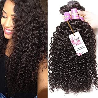 3 Bundles Brazilian Curly Virgin Hair Weave Unprocessed Human Hair Extensions Natural Color Can Be Dyed and Bleached Tangle Free (18 18 18inches)
