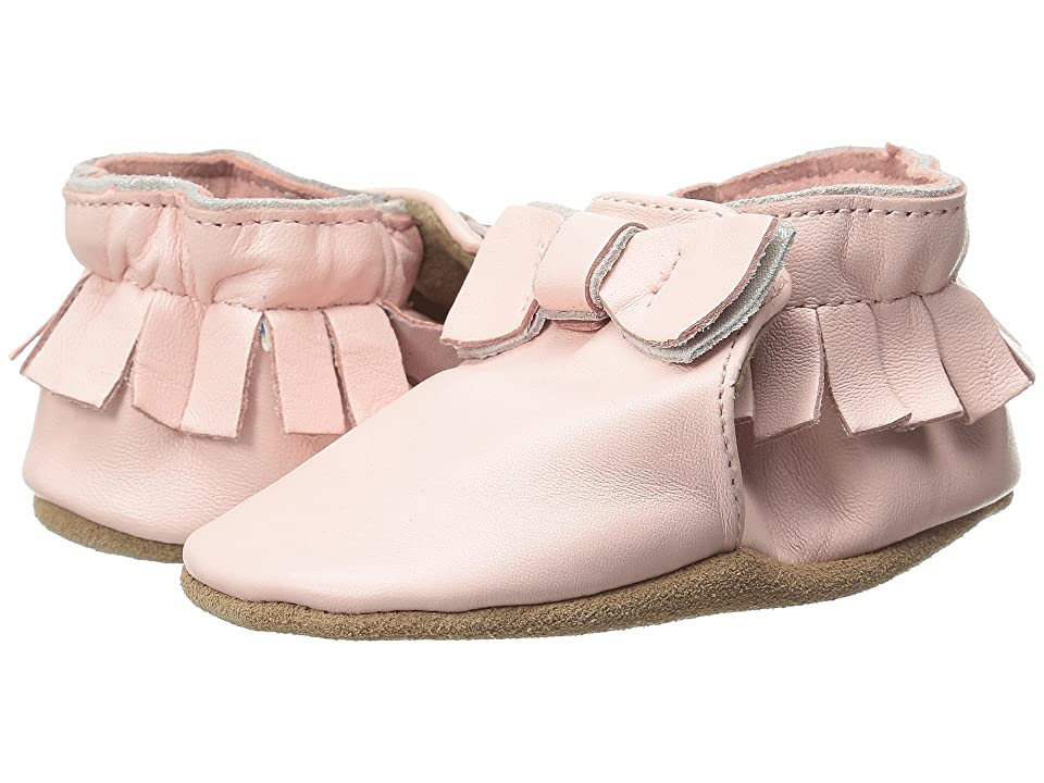 Robeez Premuim Leather Moccasin Maggie Soft Sole (Infant/Toddler) (Pastel Pink) Girls Shoes