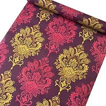 SimpleLife4U Luxury Purple Damask Removable PVC Shelf Drawer Liner Home Decor 17×118 Inch