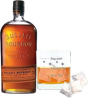 Bulleit Bourbon Frontier Whisky, Kentucky Straight Bourbon Whiskey, Alkoholgetränk, Alkohol, Flasche, 45 %, 700 ml, 749201, mit graviertem Glas