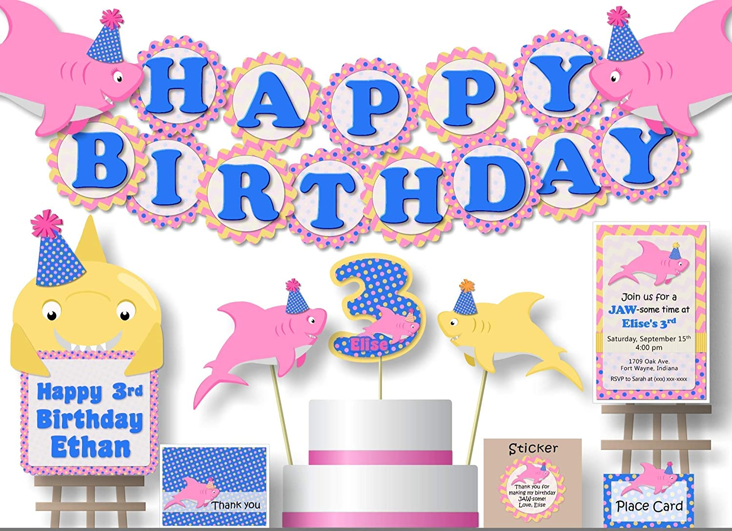Manufacturer OFFicial shop Personalized Pink Girl Baby Shark Brand new or Decorations Party Birthday