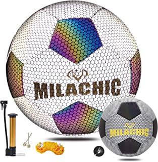 Holographic Glowing Soccer Ball Size 5 with Pump,...
