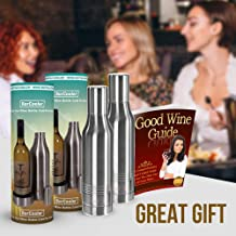 Wine Bottle Cooler - Double Wall Stainless Steel Cooler Keeps Your Wine Cold. Great Fathers Day Gift For Wine Lovers ! Fits Most Wine Bottles. BONUS free E-Book + Gift Box. Twin Pack